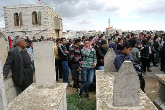 Cemetery in the West Bank village of Beitin, during the funeral of Saji Darwish, Tuesday, March 11, 2014. (Photo: Allison Deger)
