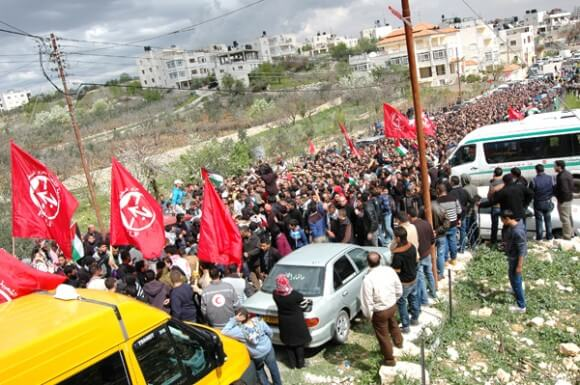 Funeral of Saji Darwish, 18, killed on Monday, March 10, 1014 by Israeli soldiers, Beitin, West Bank. (Photo: Allison Deger)