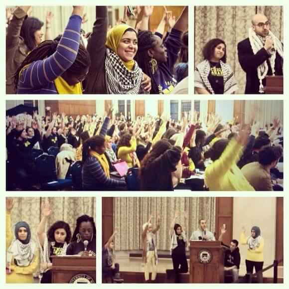 Scenes from the University of Michigan debate on divestment. (Photo: noosimsoons/Instagram)