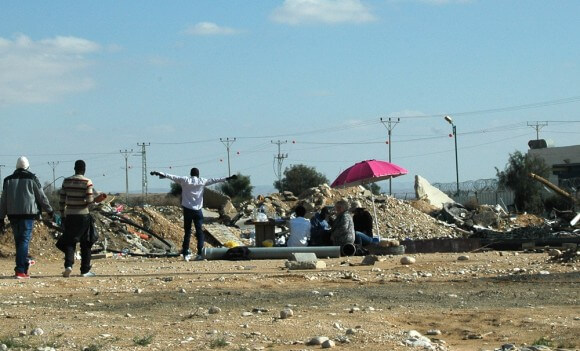 "African asylum seekers ""picnicing"" outside of Holot prison. (Photo: Allison Deger)"