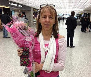 Medea Benjamin displays 'the violence inherent in the system.' (Photo: Code Pink)