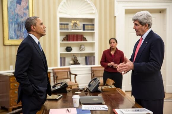 Obama with John Kerry and Susan Rice in the Oval Office, March 19, 2014