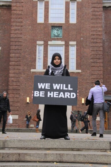 Demonstration at Brooklyn College last November for talk on Israeli apartheid, photo by Laurie Arbeiter