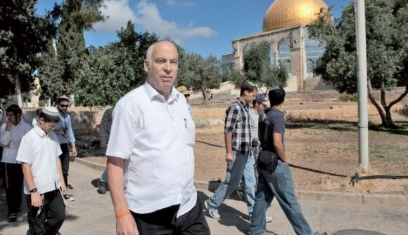 Israeli Housing Minister and settler advocate Uri Ariel visiting the Temple Mount. (Photo: Michal Fattal via Haaretz)