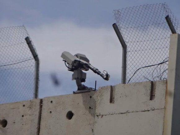 Robot Machine Gun Installed On Top Of Wall Near Bethlehem