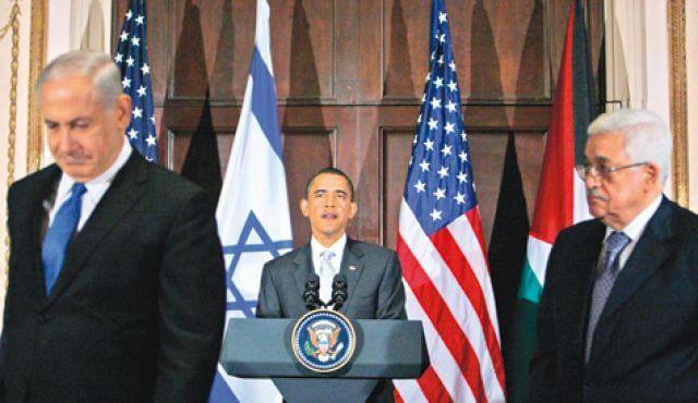 Benjamin Netanyahu, Barack Obama and Mahmoud Abbas  in 2009. (Photo: AP)