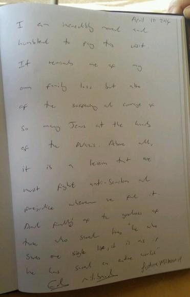 Miliband's note at Yad Vashem