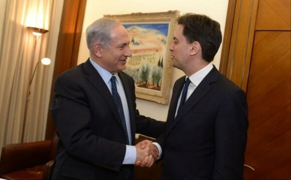 Benjamin Netanyahu with British Labour leader Ed Miliband, from the p.m.'s twitter feed