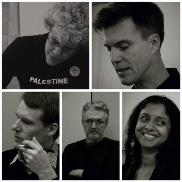 Top row (l-r): Sherry Wolf, Ashley Dawson Bottom row (l-r): Christopher Stone, Bill Mullen, Radhika Sainath. (Photo: Öykü Tekten)
