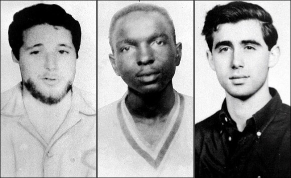 Michael Schwerner, James Chaney and Andrew Goodman's images from poster when they were missing in 1964