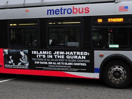 DC bus ad (Photo: Karen Bleier, AFP/Getty Images)