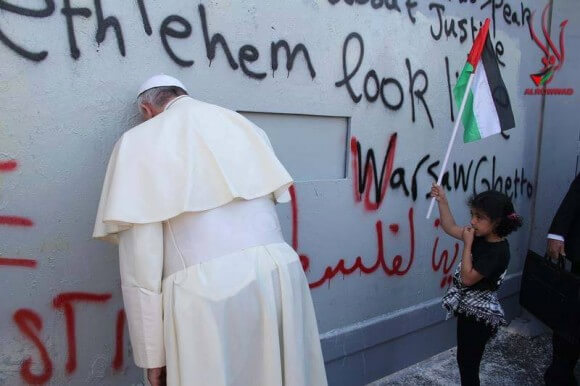 Pope at the wall, from Al Rowwad
