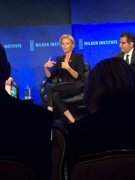 Charlize Theron at conference, photographed by Shmuley Boteach