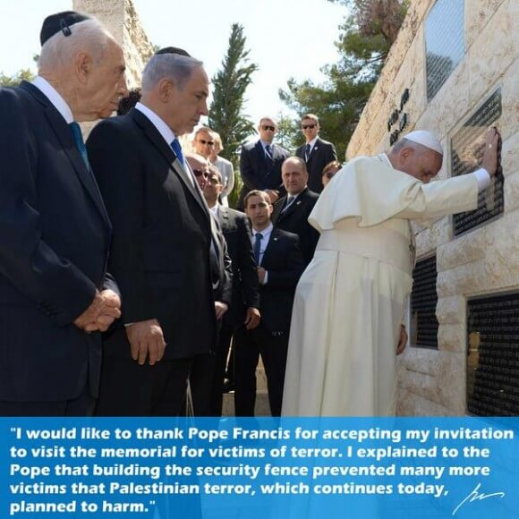 Pope prays at wall honoring victims of terror