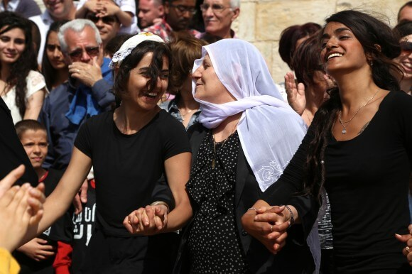 Palestinians in Iqrith dancing on Easter. (Photo: Christopher Hazou)