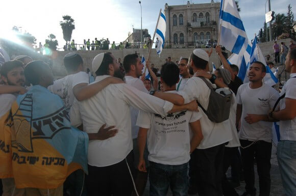 Thousands of Israeli youth march on Jerusalem Day, marking the 1967 Israeli conquest of the city. (Photo: Allison Deger)