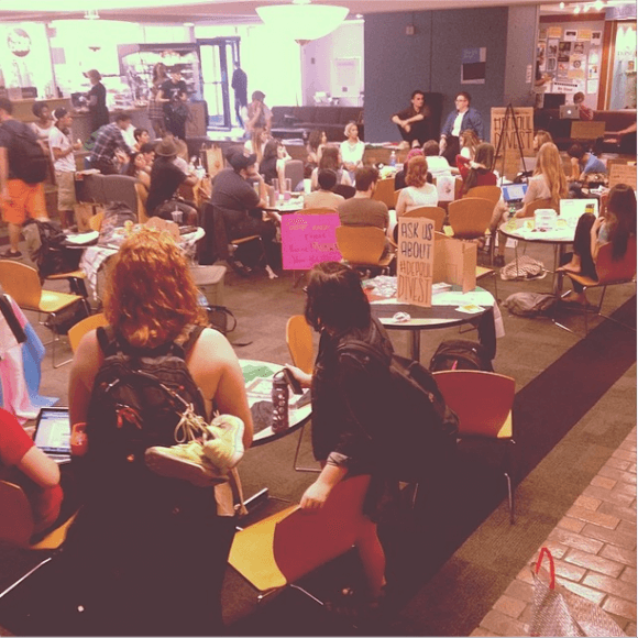 #DePaulDivest students have taken over Lounge area on campus