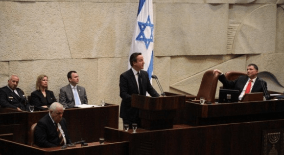UK Prime Minister David Cameron addresses the Knesset (Photo: Knesset spokesperson/Times of Israel)