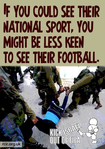 Kick Israel out of FIFA (graphic Stephanie Westbrook)