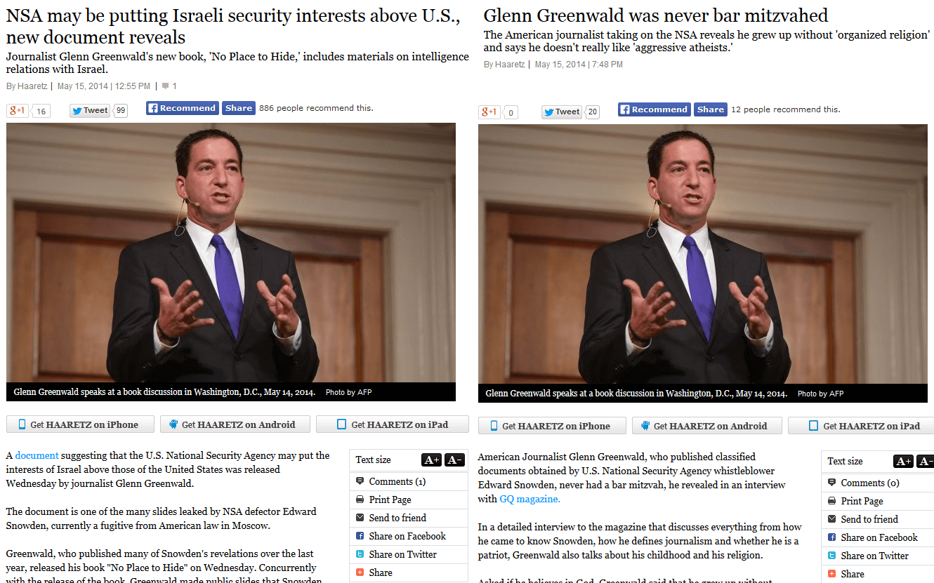 Two articles about Glenn Greenwald in today's Ha'aretz