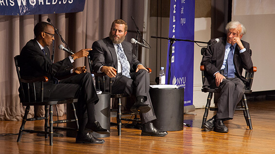 Rwandan President Paul Kagame, left, with Rabbi Shmuley Boteach and Elie Wiesel at Cooper Union last year. (Photo: Cooper.edu)