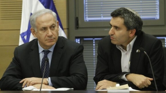 Prime Minister Benjamin Netanyahu and Deputy Foreign Minister Ze'ev Elkin at a Likud party meeting in the Knesset, July 2013. (Photo: Miriam Alster/Flash90)