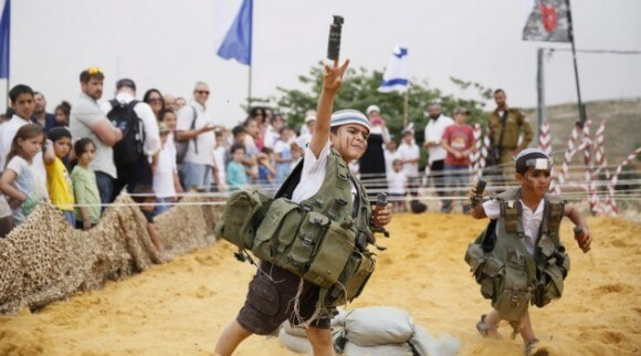 Settler children at Israeli independence celebration May 2014