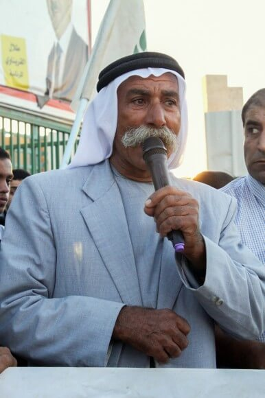 Sheikh Sayah - leader of al-Araqib - at a demonstration in October 2013 in Rahat - Naqab (Photo Julie Pronier - previously published in Palestine Monitor)