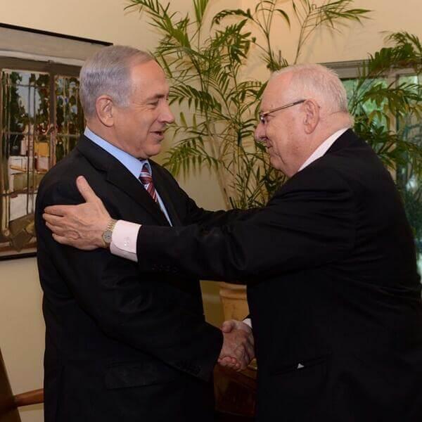 Netanyahu congratulating new Israeli  president Reuven Rivlin yesterday