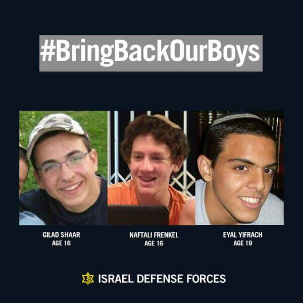 Missing Israeli teens, posted by the IDF