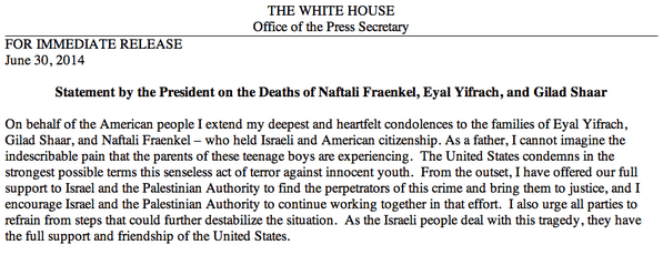 President's statement