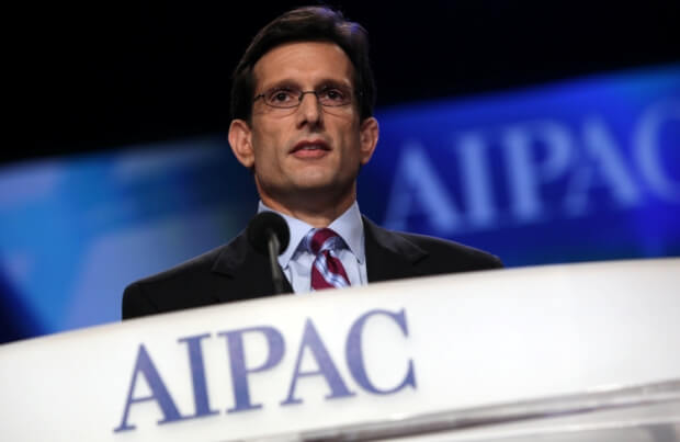 Cantor at 2011 AIPAC conference, photo from the lobby group