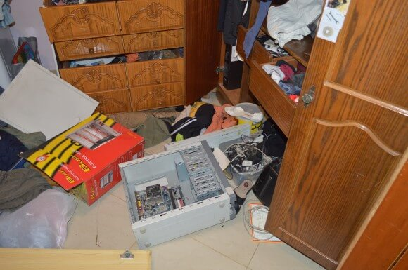 Najar's computer broken and room dismantled after night raid. (Photo: Sheren Khalel)