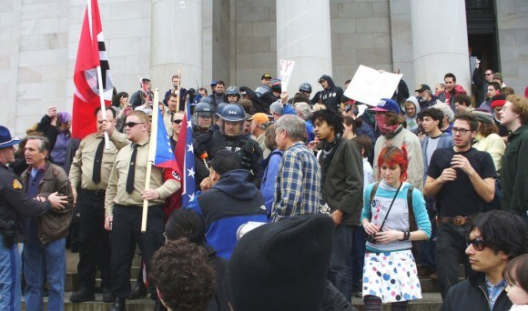 Neo-Nazi rally at the State Capitol in Olympia, Washington, April 2, 2006 (Photo by Sandy Mayes, Works in Progress)