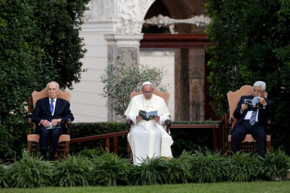 "Shimon Peres, Pope Francis and Mahmoud Abbas in the Vatican gardens on Sunday for a ""prayer summit."" (Photo: Associated Press)"
