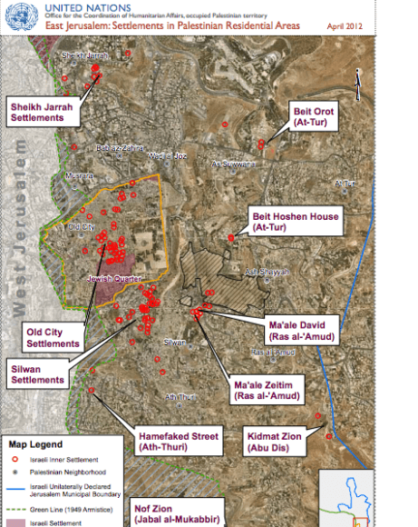 A map of settlements in the heart of Palestinian residential areas in East Jerusalem. (Screenshot via UN Office for the Coordination of Humanitarian Affairs)