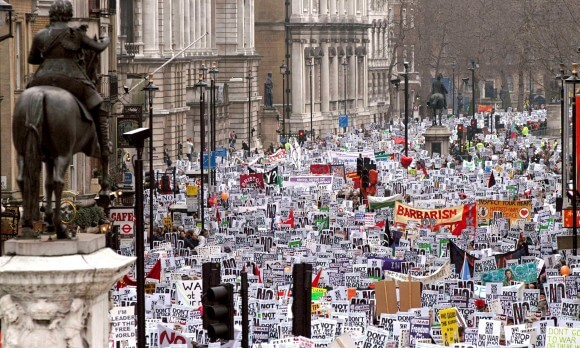 Iraq War protest in London, from the Guardian