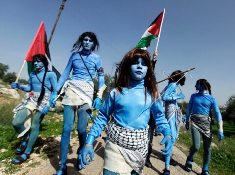 """Avatar"" characters in Bil'in demonstration. (Photo via Bilin-Village.org)"