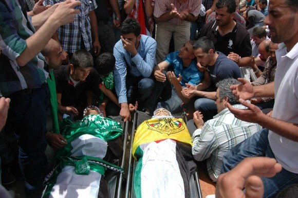 Funeral of Nadime Nuwara and Mohammed Salame, outside of Ramallah. (Photo: Allison Deger)