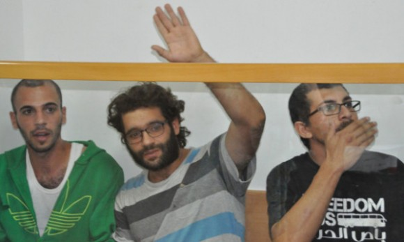 Nidal Khoury, Jeries Khiatt and Walaa Sbeit in court this morning. (Photo: Iqrit)
