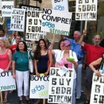 Protesters call for a boycott of SodaSteam,  whose main production site is in the illegal West Bank settlement of Ma'aleh Adumim and the industrial zone of Mishor Edomin.