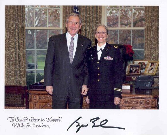 Rabbi Bonnie Koppell with President George W. Bush. (Photo via http://azrabbi.com/)