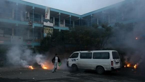 The scene after Israel bombed an UNRWA school in 2009. (Photo: Iyad El-Baba/UNRWA/Electronic Intifada)