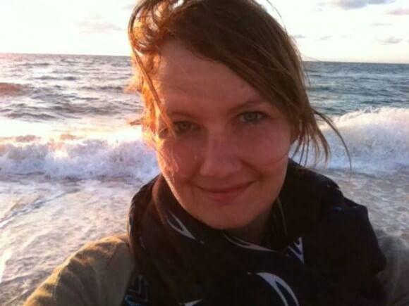 Rachelle Friesen on the beach of Khan Younis.