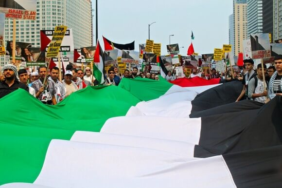 Rally in solidarity with Gaza, Chicago, IL July 20, 2014 (Photo: Bob Simpson)