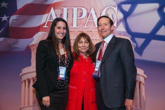 Pro-Israel philanthropist Adam Milstein (far-right) at an AIPAC conference. (Photo: Adam Milstein/Facebook)