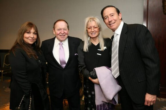 Pro-Israel philanthropist Adam Milstein (far right) with Sheldon and Miriam Adelson and Milstein's wife, Gila. (Photo: Facebook/Adam Milstein)