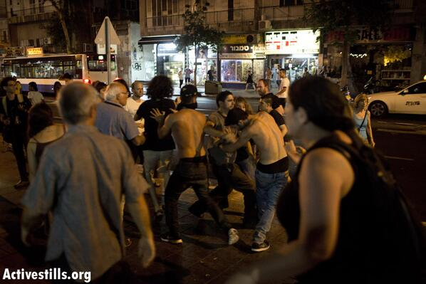 Right wing protesters attacking an anti-war on Gaza demonstration in Tel Aviv. (Photo: Twitter/ActiveStills.org)