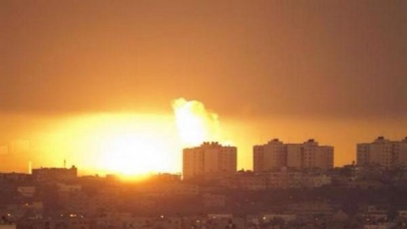 Explosion over Gaza as reported by BBC World News reporter Yalda Hakim over Twitter.