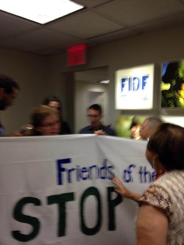 Civil disobedience action today in New York at offices of Friends of the Israeli Defense Forces